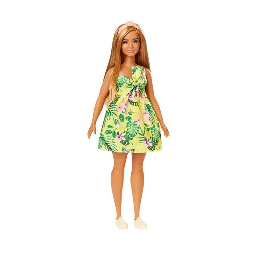 Barbie - Muñeca Fashionista - Vestido de Estampado Tropical