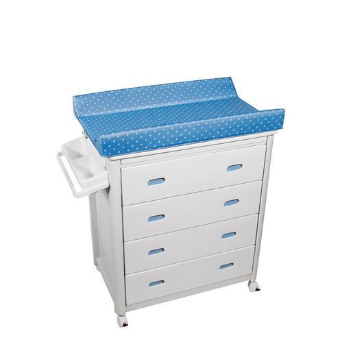 foto Plastimyr - Bañera Cajones Blancos MOB Topos Fondo Azul