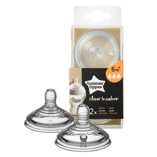 Tommee Tippee - Pack 2 Tetinas de Flujo Rápido Closer to Nature +6 meses