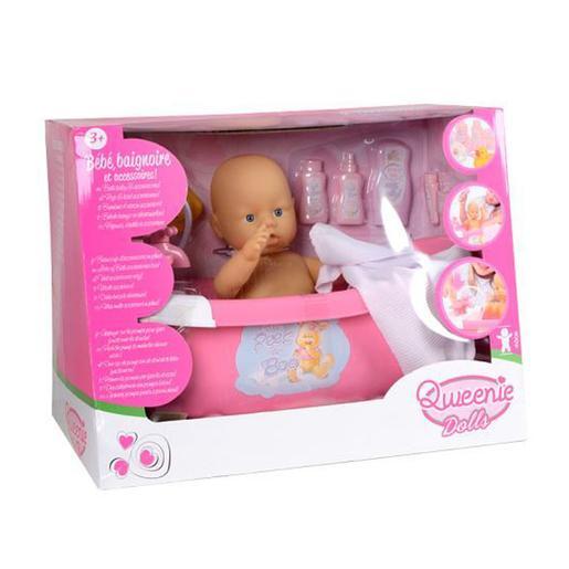 Qweenie Dolls - Muñeco Bebé con Bañera Rosa