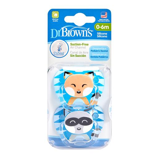 Dr Brown's - Pack 2 Chupetes Animales 0-6 meses Azul