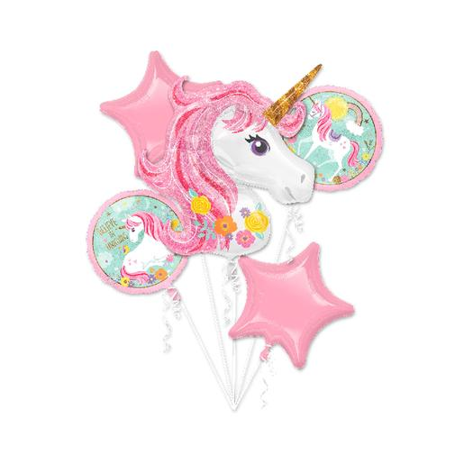 Pack 5 Globos Bouquet - Unicornio