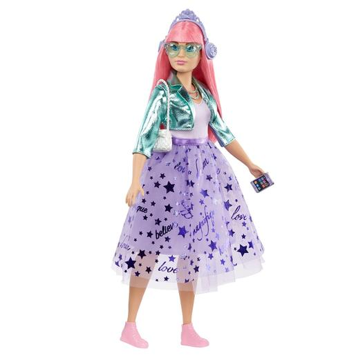 Barbie - Muñeca Pelo Rosa Princess Adventure