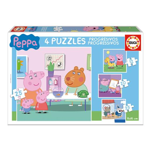 Educa Borrás - Peppa Pig - Pack 4 Puzzles Progresivos