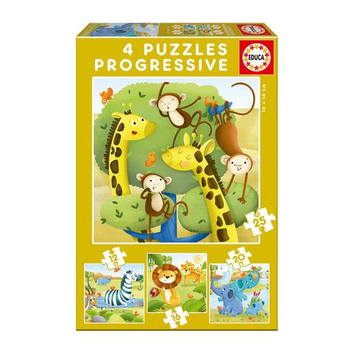 Educa Borrás - Animales Salvajes - Pack 4 Puzzles Progresivos