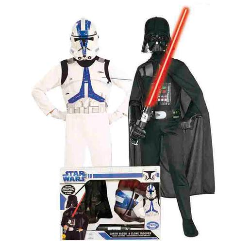 Star Wars - Pack Darth Vader y Clone Trooper - Disfraz Infantil 5-7 años