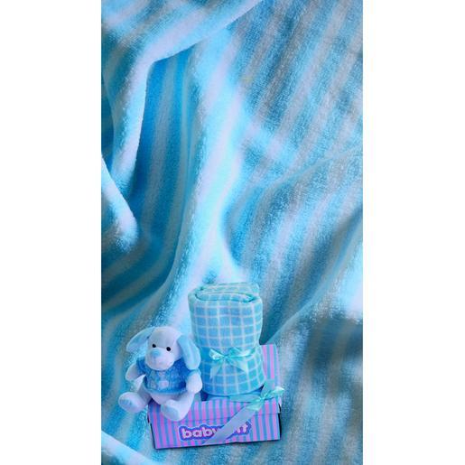 Caja Regalo Perrito con Manta Azul