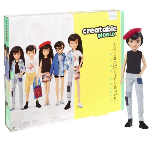 Creatable World - Muñeco Personalizable con Pelo Negro Liso