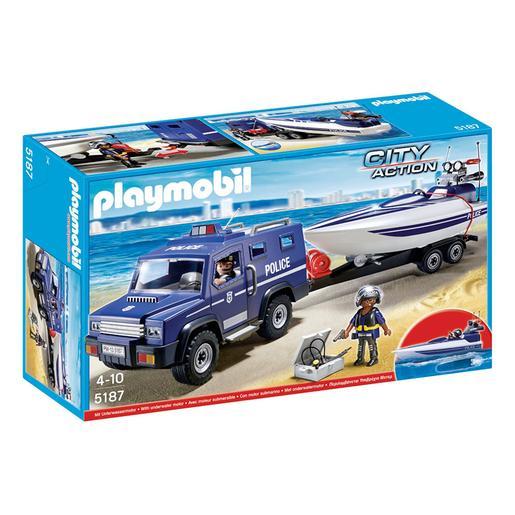 Playmobil - Coche de Policia con Lancha - 5187