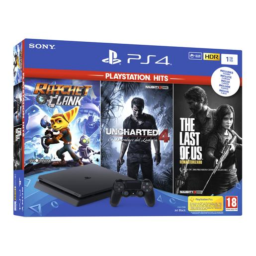 PS4 - Consola PlayStation 4 Slim 1TB y Ratchet & Clank, The Last Of Us y Uncharted 4