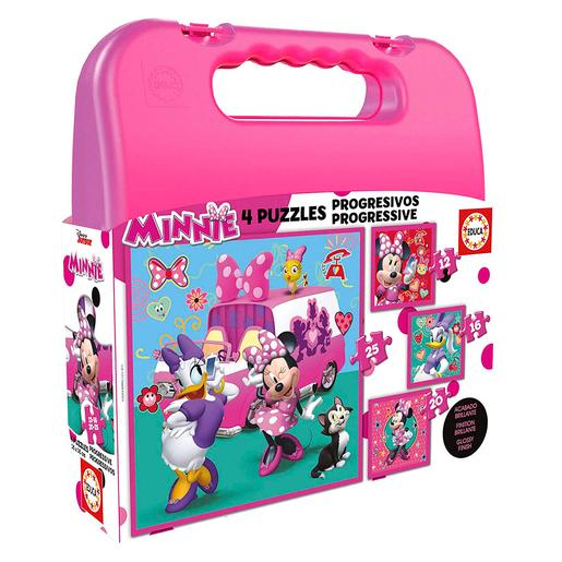 Educa Borrás - Minnie Mouse - Maleta Puzzles Progresivos
