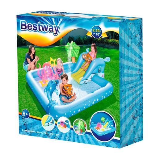 Bestway - Piscina Infantil Hinchable con Tobogán - Acuario Fantástico
