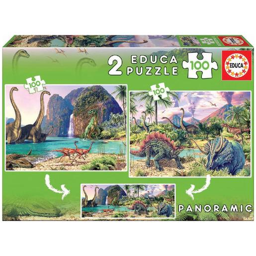 Educa Borrás - Dino World Pack Puzzles 2x100 Piezas