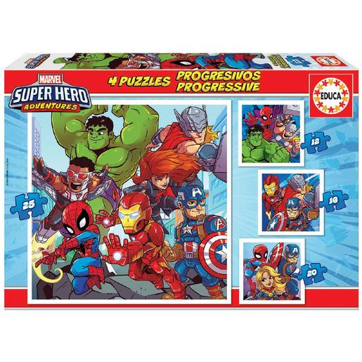 Educa Borrás - Marvel Super Hero Adventure - Pack 4 Puzzles Progresivos
